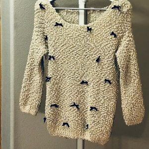 Ivory off the shoulder Bow Sweater